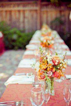 Peach and coral table setting!
