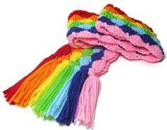 Children's Rainbow Scarf - Kids Scarf - Children Wear - Rainbow Scarf - Handmade…