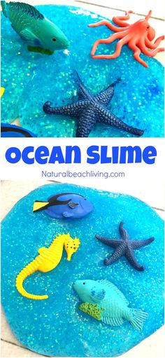 The Best Ocean Theme Recipe for Slime, Jiggly Slime, Under the Sea Theme Activities, How to Make Slime, Glittery Slime Recipe for Kids, Ocean Activities