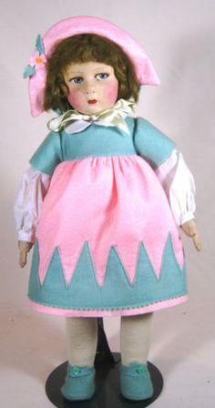 Antique Vintage Raynal Felt Lenci Type Doll Beautiful Coloring   eBay