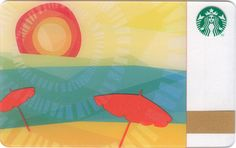Summer Sunshine - Released in North America July 2011 is the Summer Sunshine Starbucks Card. My Starbucks, Starbucks Gift Card, Visa Gift Card, Free Gift Cards, Beach Cards, Red Umbrella, North America, Sunshine, Usa