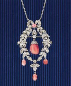 Belle Epoch Diamond and Conch Pearl Pendant Necklace, c. 1905