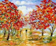 Large Original oil Fall Romance on canvas by Karensfineart