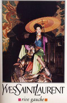 Her famed warm gun - Yves Saint Laurent ad by Newton, 1993.