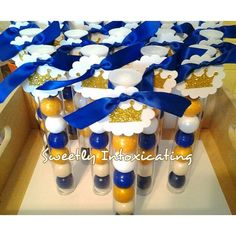 Royal blue, white & gold prince theme gumball favors. Baby showers ,  prince, 1st birthday , royal prince party decor
