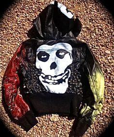 Custom Studded Leather Jacket Hand Painted Misfits Punk Jacket.