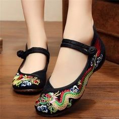 088fdd96ecfcd Vintage National Wind Chinese Embroidered Dragon Mary Janes Flat Shoes