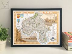 Tower Hamlets borough illustrated map giclee print