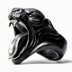 BLACK PANTHER RING by Macabre Gadgets MARBLE & SILVER