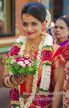 South Indian bride. Kanchipuram silk sari. Temple jewelry. Braid with fresh flowers. Tamil bride. Telugu bride. Kannada bride. Hindu bride.Malayalee bride.