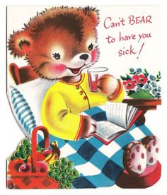 Vintage Norcross Little Bear in Bed Eating Fruit Greeting Card