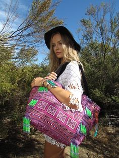Coconut Village Tribal Weekend Tote with beaded fringe panels