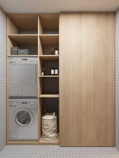 This has to be one of the smartest uses of small spaces I've seen in a long time. Who also loves this innovative design? Laundry Cupboard, Laundry Closet, Laundry Storage, Small Laundry, Laundry Rooms, Small Rooms, Small Spaces, Closet Curtains, Architecture Life