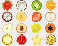 Clipart de frutas. Ilustración de la fruta. Imágenes digitales de la fruta. Rebanada de frutas imágenes prediseñadas 195