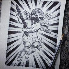 Child Angel with gun Tattoo Gangster Tattoos, Dope Tattoos, Small Tattoos, Tattoo Design Drawings, Tattoo Sleeve Designs, Tattoo Sketches, Chicanas Tattoo, Money Tattoo, Lettrage Chicano