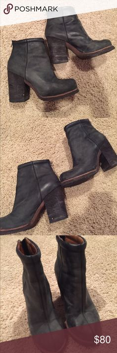 Jeffrey Campbell black grey leather rumble booties No tassels attached to zipper. Good condition. Sole has been reglued by shoe parlor previously. Jeffrey Campbell Shoes Ankle Boots & Booties