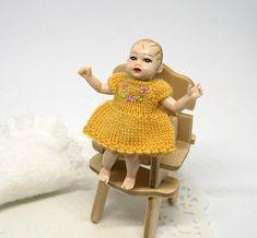 Miniature clothes for Heidi Ott baby, Tiny doll dress, miniature wearable hand knitted dollhouse dress with embroidery, dollhouse nursery