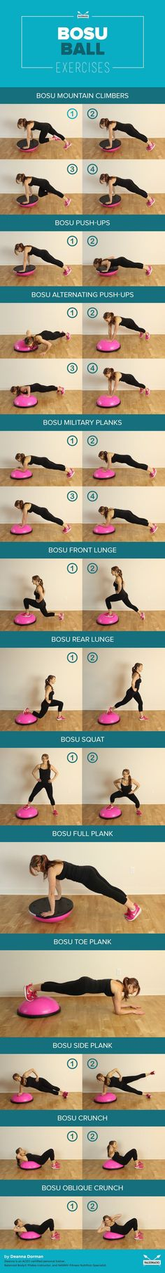 BOSU balls are great for incorporating balance challenges to your workouts and improving stability.