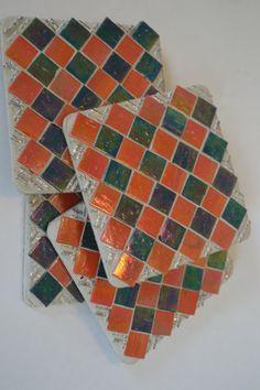 Mosaic Coasters Set of 4 Handmade Green and Orange by gcbmosaics