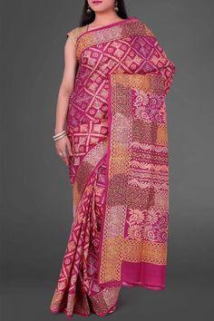 Pink Hand Block Printed Kantha Tussar Silk Saree