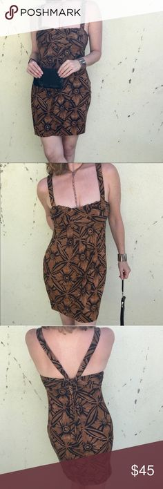 DIANE VON FURSTENBERG SILK DRESS brown BLACK SZ 6 DVF DRESS - Diane Von FurstenBerg brown and black patterned Hawaiian floral cocktail dress, marked as a 4, fits a size 6 well. Silk and nylon. Empire waist, lovely fit on the body. Great length...feels great! (929) Diane Von Furstenberg Dresses Midi
