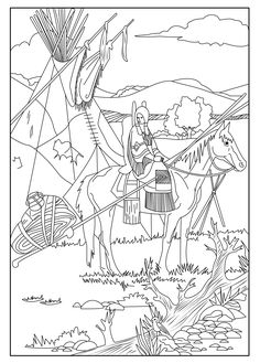 This Coloring Page Show A Native American On His Horse From The Gallery