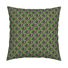 Catalan Throw Pillow featuring RHINOCEROS EYE WINK Green by paysmage | Roostery…