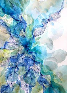 Helen Wells, Water Flow. #watercolour and pigment pen on art paper