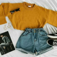 Fashion outfits - KNITS x SHORTS ★ A look we love rn ⚡️️ Get the Moonlight Drive Crop Knit Starboy Paperbag Shorts Orion Earrings and Vision Sunnies… Teenage Outfits, Cute Teen Outfits, Cute Comfy Outfits, Cute Outfits For School, Teen Fashion Outfits, Cute Summer Outfits, Mode Outfits, Retro Outfits, Short Outfits