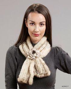 Fur Scarf with Rosette - Ivory Mink Fur Fur Scarves, Fur Blanket, Mink Fur, Rosettes, Ivory, Coat, Jackets, Fashion, Down Jackets