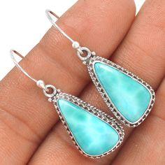 Larimar - Dominican Republic 925 Sterling Silver Earrings Jewelry SE130020 | eBay