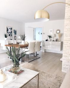 White Living Room - like a heaven ,   #fashionsabs #modene #salon Home Living Room, Living Room Decor, Happy Sunday, Dream Decor, Future, Natural Design, Dining Table, Dining Room, Sweet