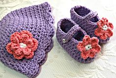 3-pc Baby Hat & Booties Set Choose size Soft by CathleensCrochet