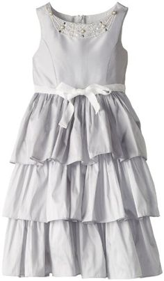 Us Angels Girls 7-16 Party Dress with Tiered Bottom and Tie Waist, Silver, 12  - Click image twice for more info - See a larger selection of little girl special ocassion dresses at http://girlsdressgallery.com/product-category/special-occasion-dresses/- kids, toddler, kids dresses, little girls, dress, gown, little girls fashion, gift ideas, flower girl, wedding, party dress