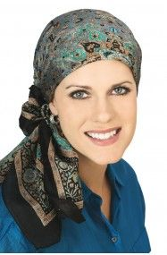 silk paisley head scarf in pure silk for women