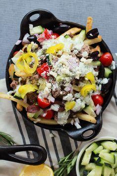 Skinny Greek Loaded French Fry Nachos | joyfulhealthyeats.com | #recipes #SpringIntoFlavor #ad #appetizer #easy #quick #gameday #summerbbq