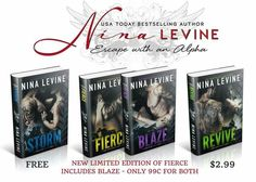 LIMITED EDITION FIERCE AVAILABLE NOW!!   #99c #StormMC #BadAssBiker  Have you read Fierce & Blaze yet? If not, I've published a limited edition version of Fierce which includes a bonus copy of Blaze in it.  AND it is ONLY 99c for both!!  Nina Levine just about to change the prices back to normal so grab this deal now while it is still available.  Here's the links:  iBooks: http://apple.co/1BypyKo AMAZON US: http://amzn.to/1TSNQaA AMAZON UK: http://amzn.to/1PyYZY4 AMAZON CA…
