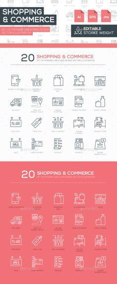 Set of Modern Line Shopping Icons Design #design Buy Now: http://graphicriver.net/item/set-of-modern-line-shopping-icons-design-/12875114?ref=ksioks