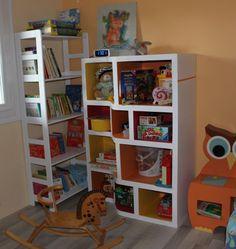 Meuble à jouets terminé ! - coticarton Bookcase, Shelves, Home Decor, Cartonnage, Upcycling, Cardboard Toys, Cardboard Furniture, Kraft Paper, Shelving