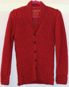 1940/50s Womens Red Hand Knitted Cardigan  Lindy Hop Swing Dance reenactment