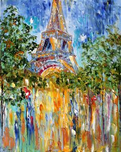 Brand new Paris painting abstract. Love the Eiffel Tower