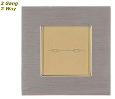 GLSTouch Designer Silver & Gold Brushed Aluminium Touch Light Switch (On/Off) 2 Gang 2 Way