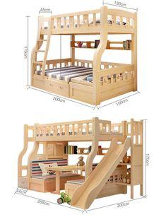 2017 New Design Wood Children Double Bunk Beds / Bed For Children Bunk Beds . - 2017 New Design Wood Children Double Bunk Beds / Bed For Children Bunk Beds With … - Bunk Bed With Slide, Double Bunk Beds, Bunk Bed Plans, Kids Bunk Beds, Woodworking Furniture, Woodworking Plans, Home Confort, Kids Bed Design, Bunk Bed Designs