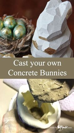 Easily cast and finish your own sculpted bunnies from the molds you made. Super cute DIY faceted little critters for easter. Concrete Casting, Concrete Bowl, Concrete Molds, Concrete Crafts, Concrete Projects, Diy Projects, Cement Pots, Bible Crafts For Kids, Crafts To Make