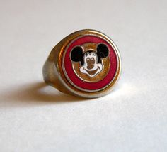 Vintage Mickey Mouse Rare 1950 Collectible Child's Adjustable Ring