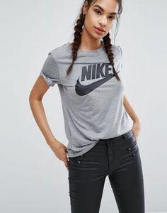 Nike – Graues T-Shirt mit Logo
