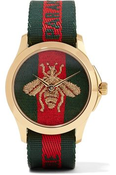 Gucci - Canvas And Gold-tone Watch - Green - One size