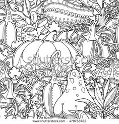 seamless garden pattern in doodle style black and white monochrome background pumpkins berries and leaves zentangle coloring book page - Zentangle Coloring Book