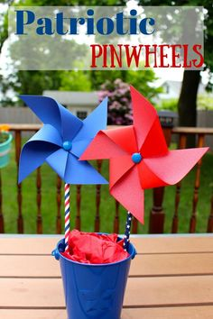 July 4th Party Decoration Ideas DIY Patriotic Pinwheels with paper straws and scrapbook paper
