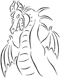 Maleficent dragon line art. Tattoo idea.